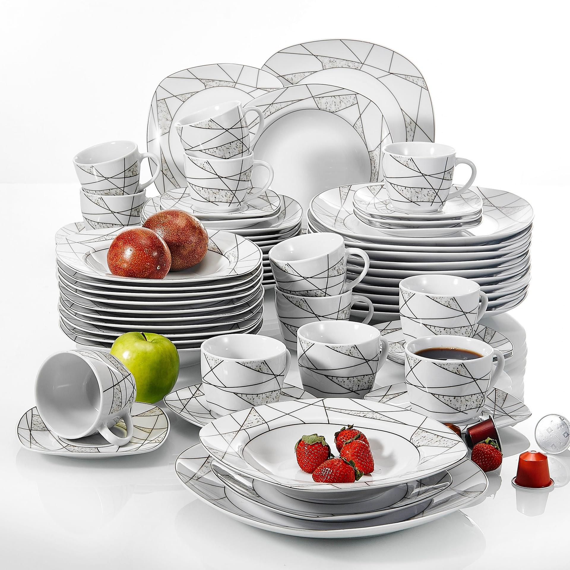 60 Piece Porcelain Ceramic Dinner Set